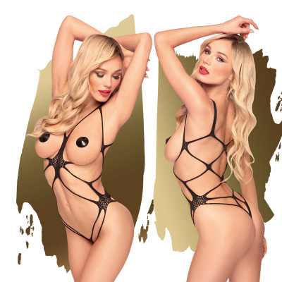 Penthouse No Taboo Strappy Teddy S-L Black