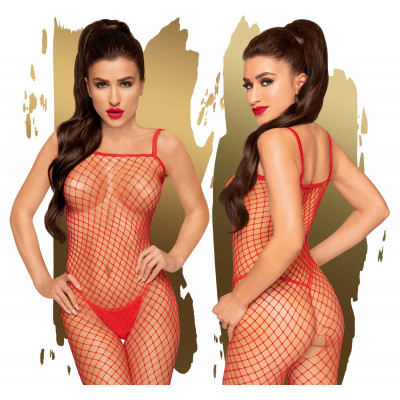 Penthouse Body Search Fishnet Bodystocking S-L Red