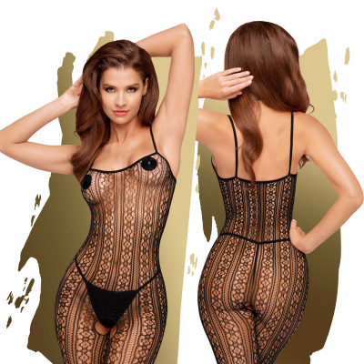 Penthouse Dark Wish Patterned Net Bodystocking S-L Black