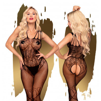 Penthouse Dirty Mind Flower Lace Bodystocking S-L Black
