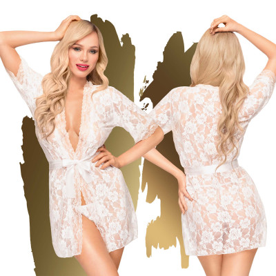 Penthouse Sweet Retreat Lace Kimono S-L White