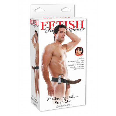 Fetish Fantasy Vibrating Hollow Strap-on 8 Inch Brown