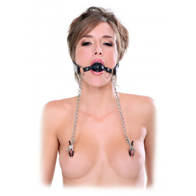 Fetish Fantasy Leather Ball Gag with Nipple Clamps