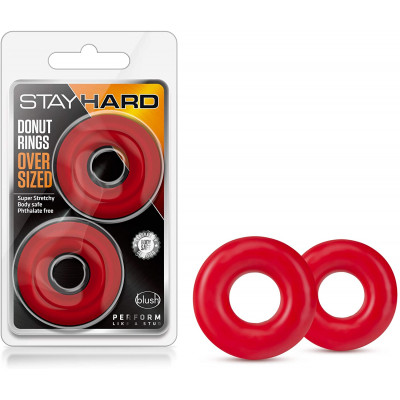 Σετ 2 Κόκκινα δαχτυλίδια υποστήριξης Πέους Stay Hard