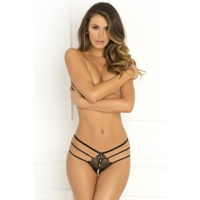 Wanted and Wild Black Strappy Crotchless Panty