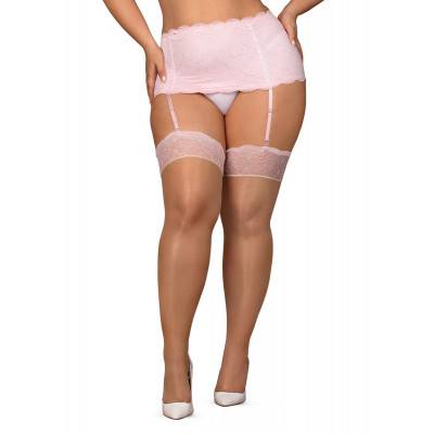 Obsessive Plus Size Girlly Pink Lacy Stockings