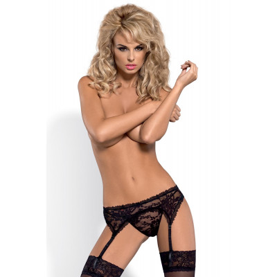 Obsessive Catia Lacy Black Garter Belt with thong