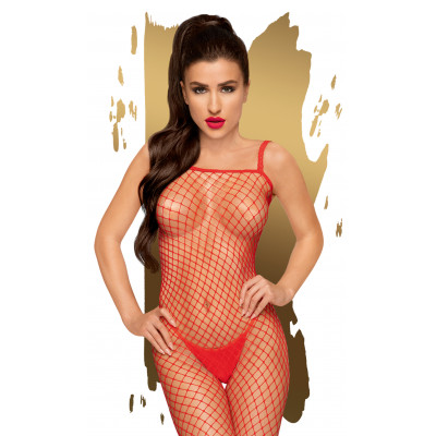 Penthouse Body Search Fishnet Bodystocking XL Red