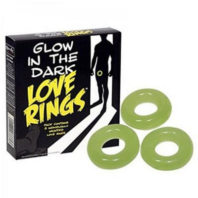 Glow in dark Love set of three Rings