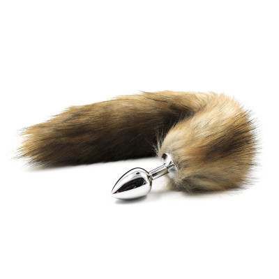 Naughty Toys Natural Faux Fur Stainless Steel Tail Butt Plug Small