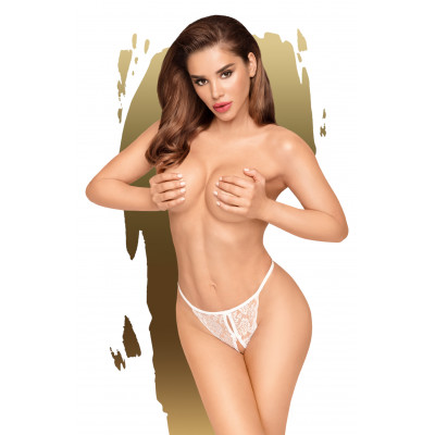 Penthouse Hot Getaway Crotchless String White
