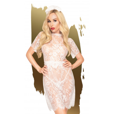 Λευκό Δαντελωτό Μίνι Φόρεμα με στρίνγκ Penthouse Poison Cookie