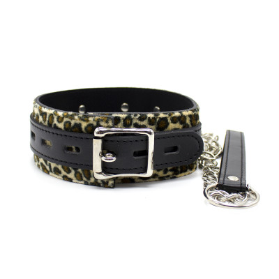 Naughty Toys Leopard Print Faux Fur Collar with Leash