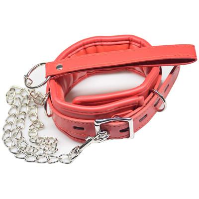 Κόκκινο Κολάρο λαιμού με αποσπώμενο μεταλλικό λουρί Naughty Toys