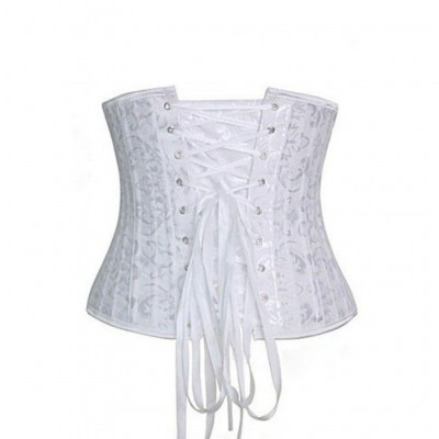 White Underbust Corset with 24 Steel Bones