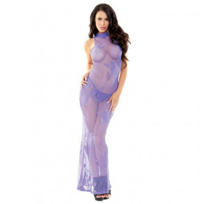 High Neck Violet Lace Gown