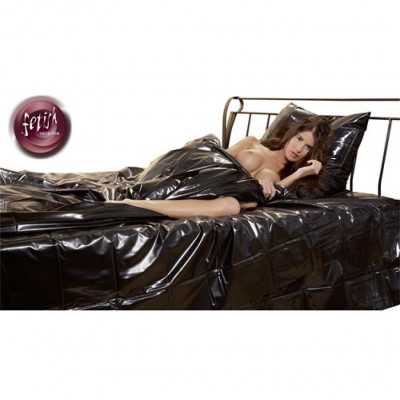 Orgy Vinyl Bed Sheet in Black and Red200x230cm