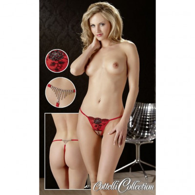 Horny Red Crotchless String