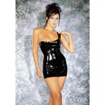 Latex One Shoulder Mini Dress