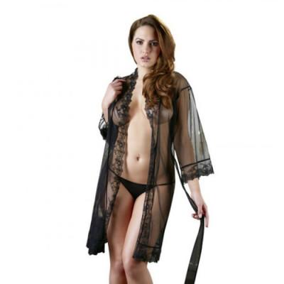 Cottelli Transparent Black Kimono