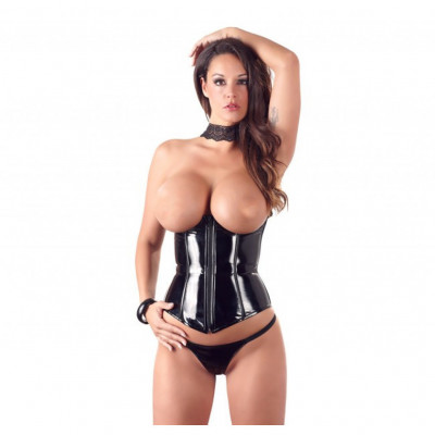 Vinyl Corset with Open Cups