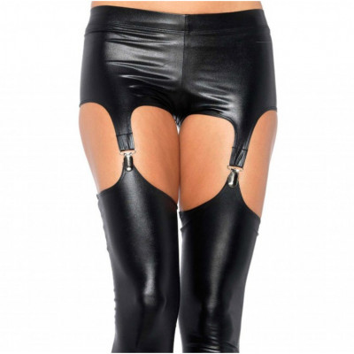 Wet Look Garter Leggings
