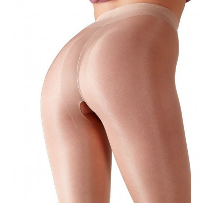 Skin Colored Open Crotch Tight with Satin Shine