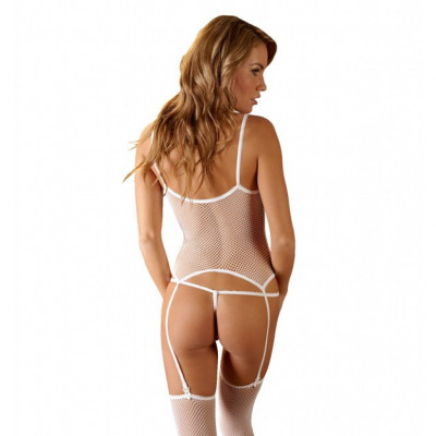 White Fishnet Suspender Basque Set