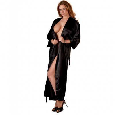 Long Black Satin Kimono