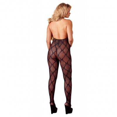 Black Lace Open Crotch Catsuit
