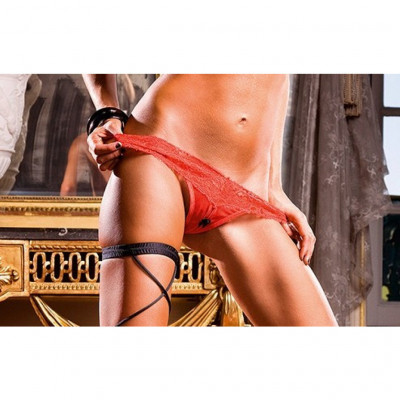 Baci Crotchless Red Lace Thong