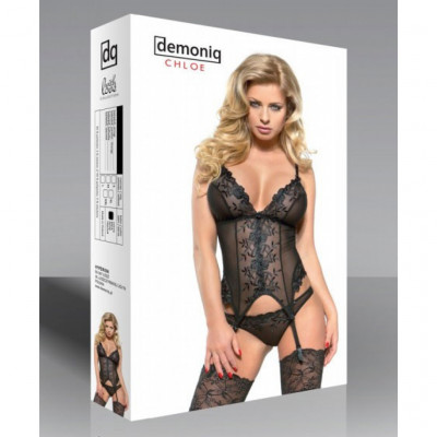 Demoniq Chloe Black Basque Set