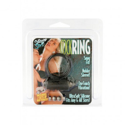 Vibrating Cock Ring Silicone Black and Pink