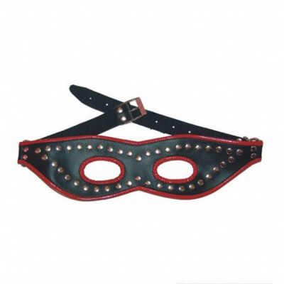 Black leather mask with red stripe