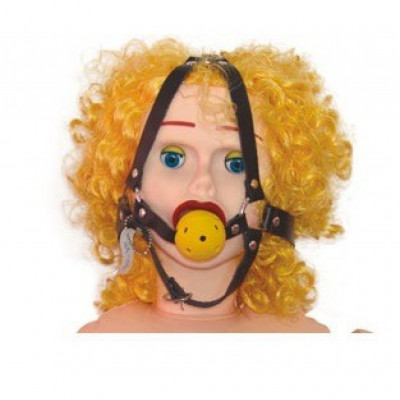 Leather breathable ball gag with head harness