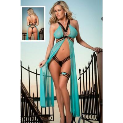 Strappy Mesh Flyaway Gown Set