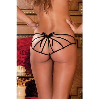Crotchless G-string with bow in the back