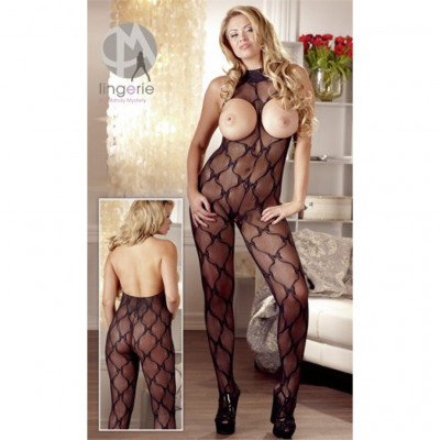 Plus Size Black Lace Open Crotch Catsuit