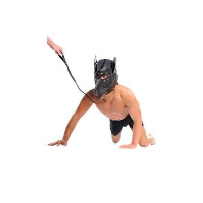 Δερμάτινη φετίχ μάσκα προσώπου σκύλου με κολάρο και σχοινάκι