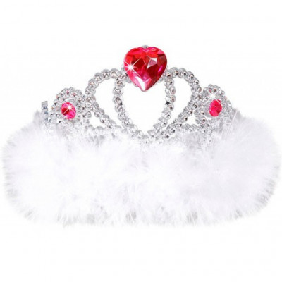 Girls Night Out Tiara with White Marabou