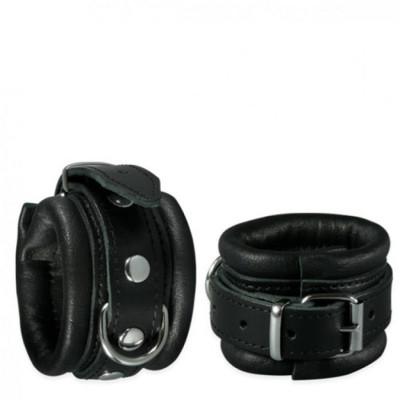 Leather Pair heavy duty hand Cuffs in black 5cm