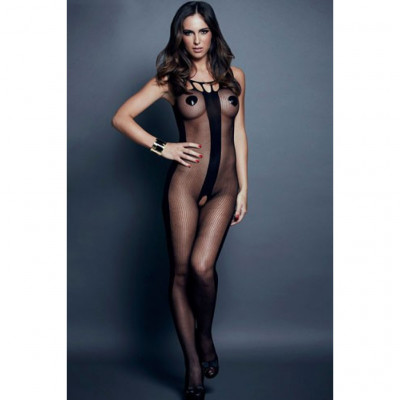 Sheer Crotchless Bodystocking with Vertical Stripes