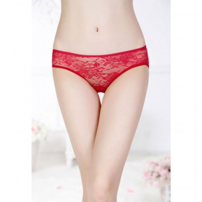 Red Floral Lace Butterfly Panty