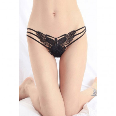 Black Embroidered Butterfly Thong