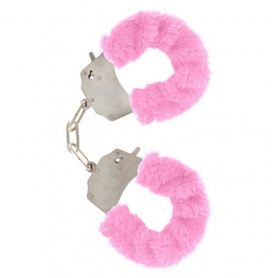 Pink Furry Metal Handcuffs