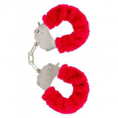 Red Furry Metal Handcuffs