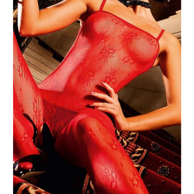 Red Crotchless Flower Lace Bodystocking