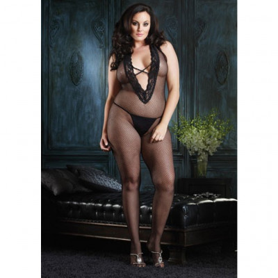 Leg Avenue Halter Fishnet Bodystocking Plus Size
