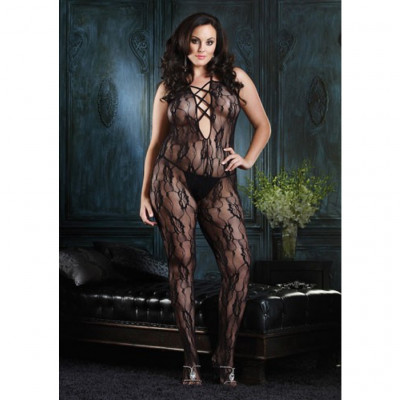 Romantic Lace Criss Cross Strap Bodystocking