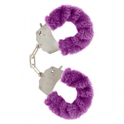 Purple Furry Metal Handcuffs
